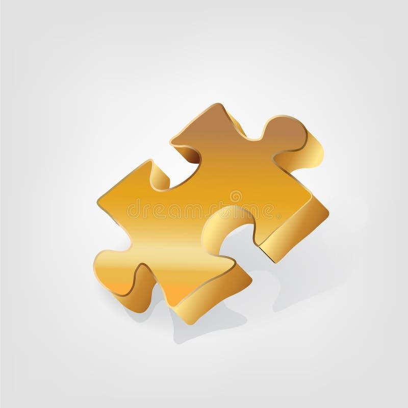 Icono del logotipo del negocio 3D del pedazo del oro del rompecabezas stock de ilustración