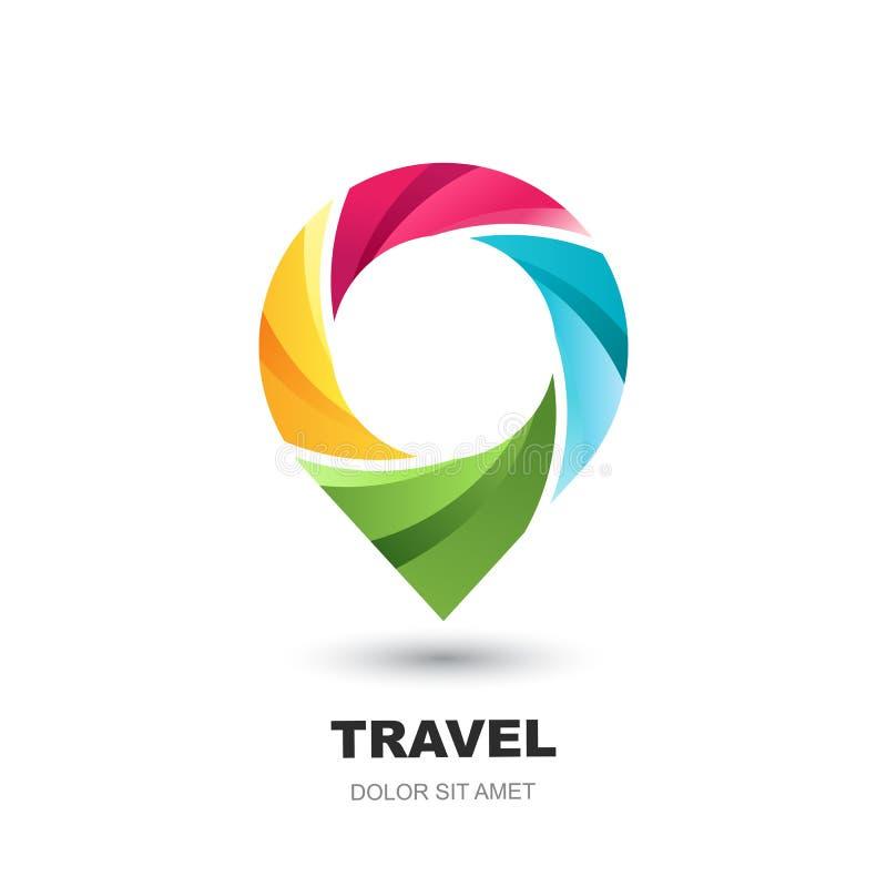 Icono del logotipo del vector con el mapa del perno Marcador multicolor del punto de referencia Concepto para las vacaciones, via stock de ilustración