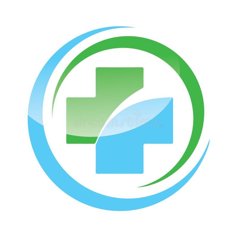 Icono del logotipo del vector de la tienda de la farmacia stock de ilustración
