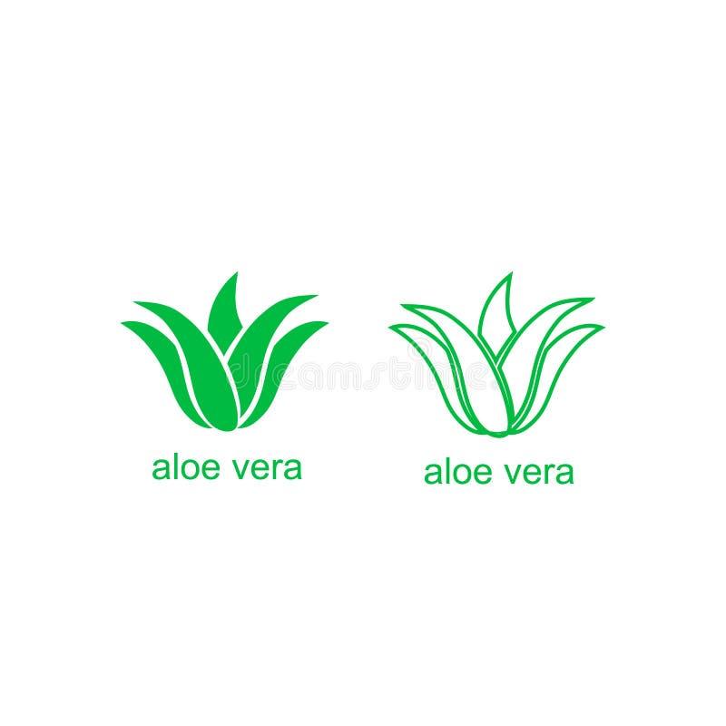 Icono del logotipo del verde de Vera del áloe para la etiqueta orgánica natural del paquete del producto Muestra aislada de la ho libre illustration