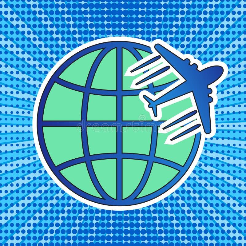 Icono del logotipo del viaje con el globo y el avión en str cómico retro del arte pop ilustración del vector