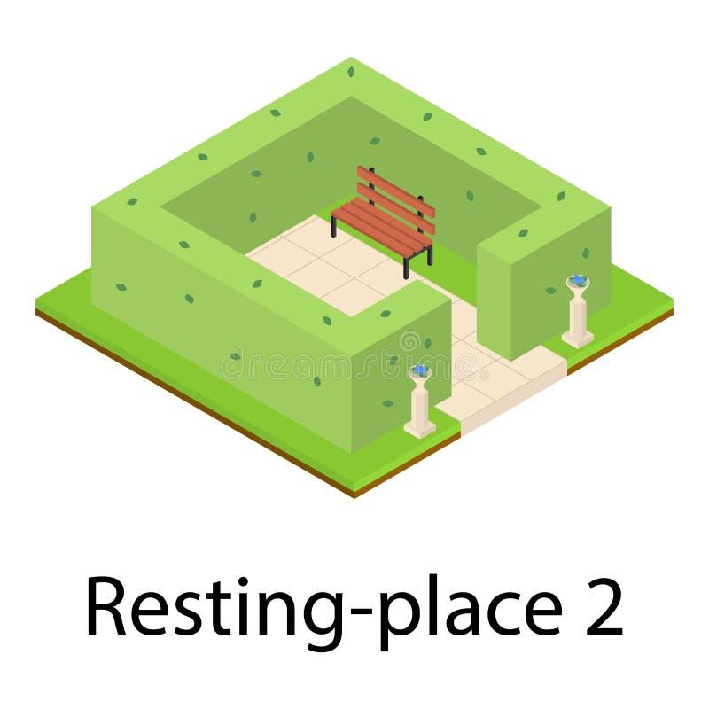 Icono del lugar de descanso, estilo isométrico ilustración del vector