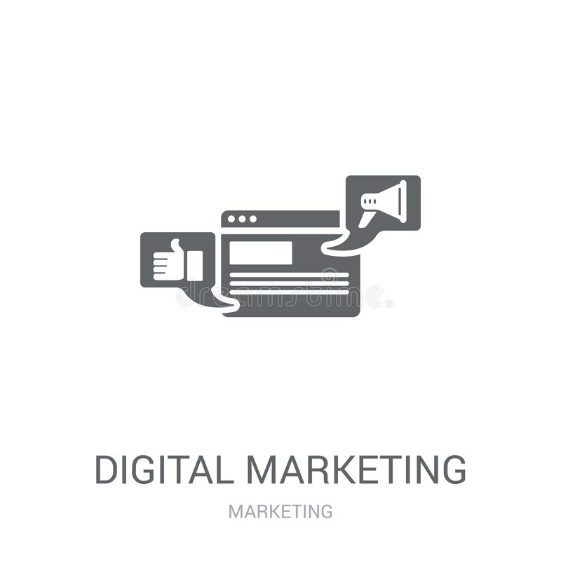 Icono del márketing de Digitaces  stock de ilustración