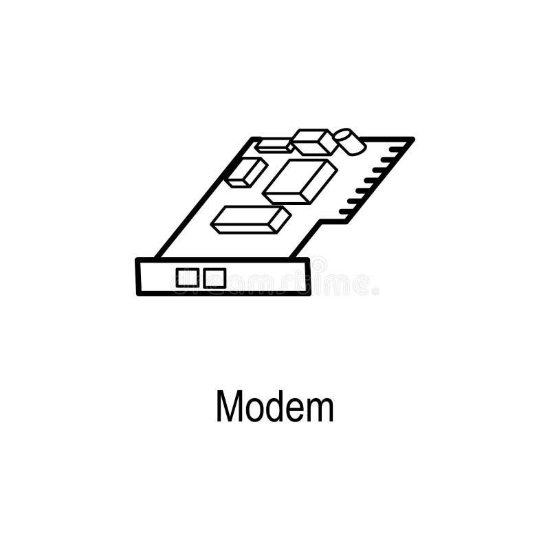 icono del módem interno Elemento de la pieza del ordenador para los apps móviles del concepto y del web Línea fina icono para el  ilustración del vector