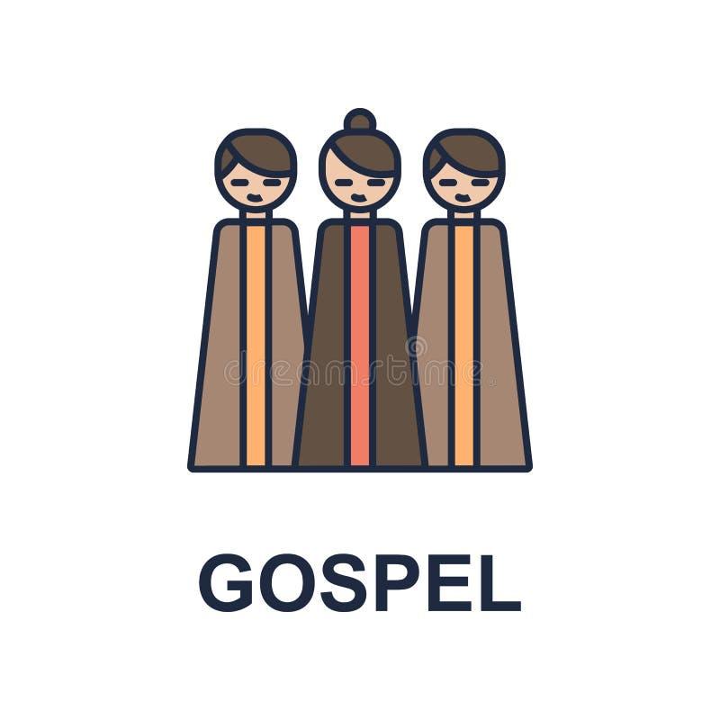 icono del músico del evangelio Elemento del icono del estilo de la música para los apps móviles del concepto y del web El icono c libre illustration