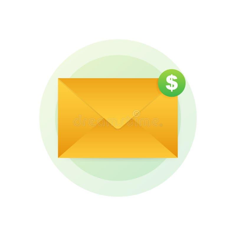 Icono del m?rketing del correo electr?nico Márketing del hoja informativa, suscripción del correo electrónico Ilustraci?n del vec ilustración del vector