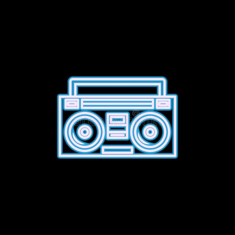 Icono del magnetófono del equipo estéreo portátil o de casete de la radio en el estilo de neón Uno del icono de la colección del  ilustración del vector