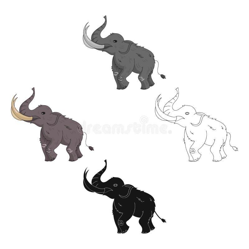 Icono del mamut lanoso en estilo de la historieta aislado en el fondo blanco Ejemplo del vector de la acción del símbolo de la Ed stock de ilustración