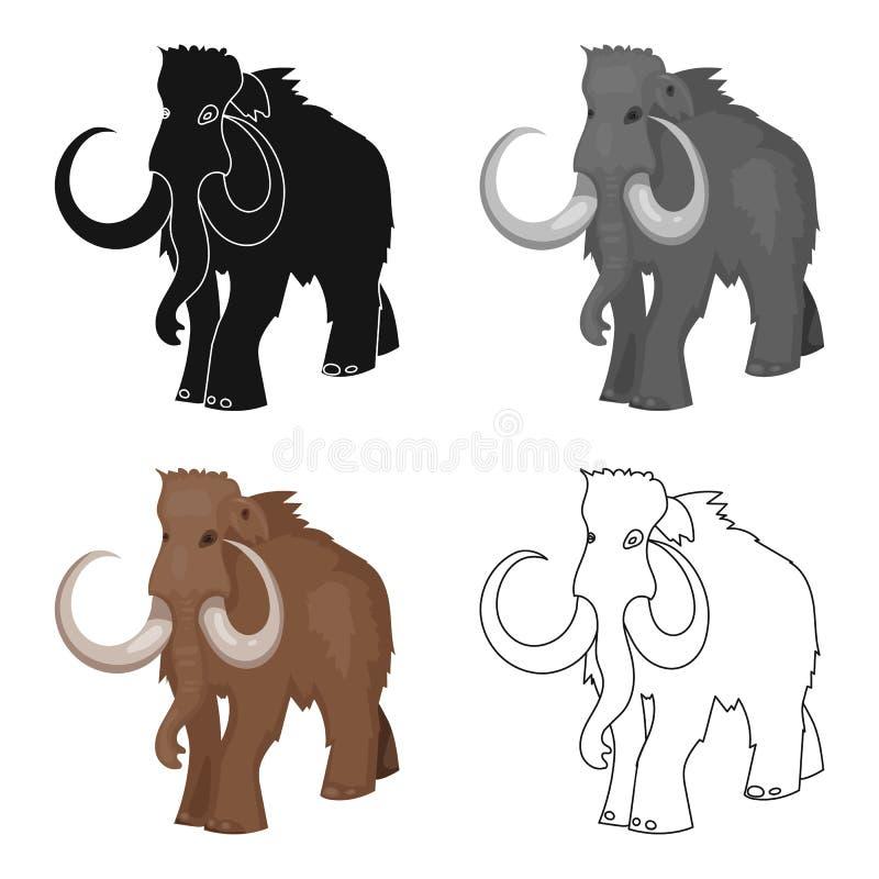 Icono del mamut lanoso en estilo de la historieta aislado en el fondo blanco Ejemplo del vector de la acción del símbolo de la Ed ilustración del vector