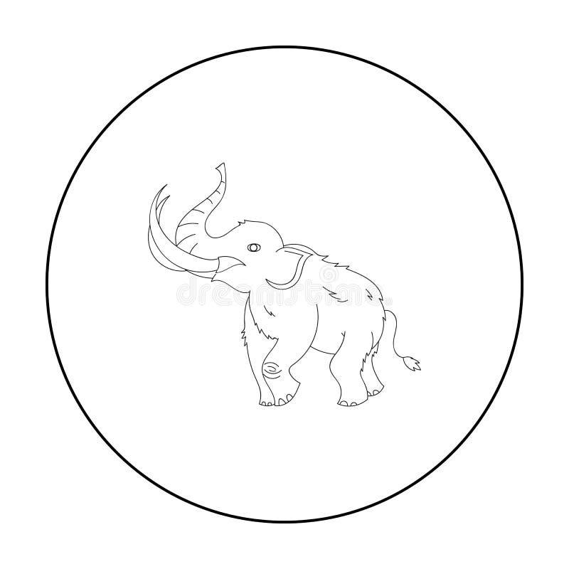 Icono del mamut lanoso en estilo del esquema aislado en el fondo blanco Ejemplo del vector de la acción del símbolo de la Edad de stock de ilustración