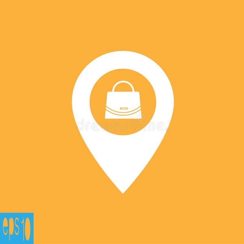 Icono del mapa con el icono del bolso, muestra - ejemplo del vector libre illustration