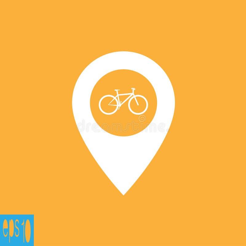 Icono del mapa con el icono de la bicicleta, muestra - ejemplo del vector ilustración del vector