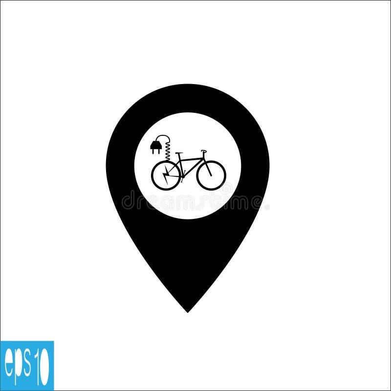 Icono del mapa con el icono eléctrico de la bicicleta, muestra - ejemplo del vector stock de ilustración