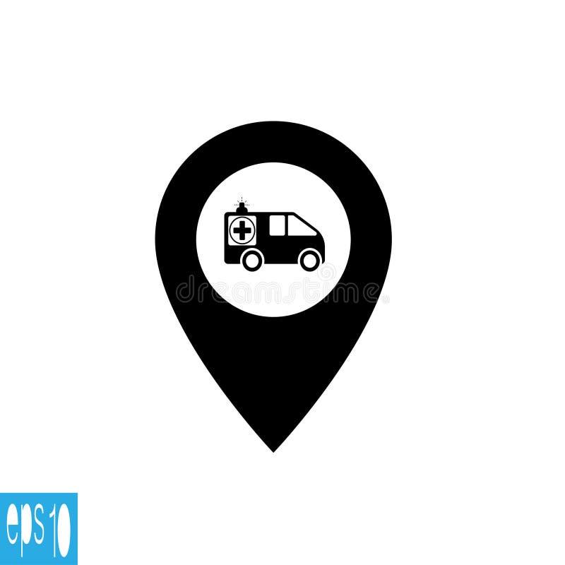 Icono del mapa con la ambulancia - ejemplo del vector libre illustration