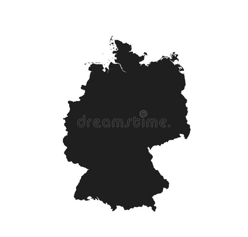 Icono del mapa de Alemania país aislado vector negro de Europa de la imagen de la silueta stock de ilustración