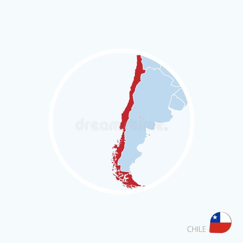 Icono del mapa de Chile Mapa azul de Europa con Chile destacado en color rojo stock de ilustración