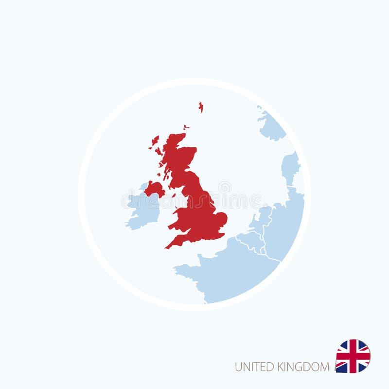 Icono del mapa de Reino Unido Mapa azul de Europa con Reino Unido destacado en color rojo libre illustration