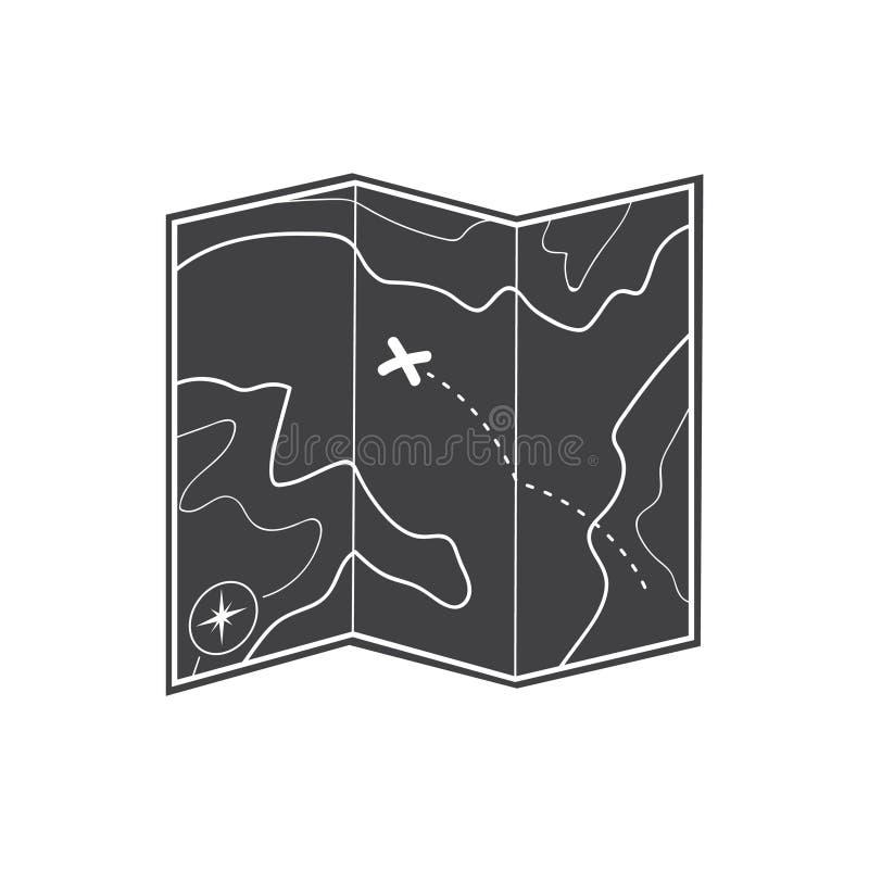Icono del mapa Icono del mapa del tesoro stock de ilustración