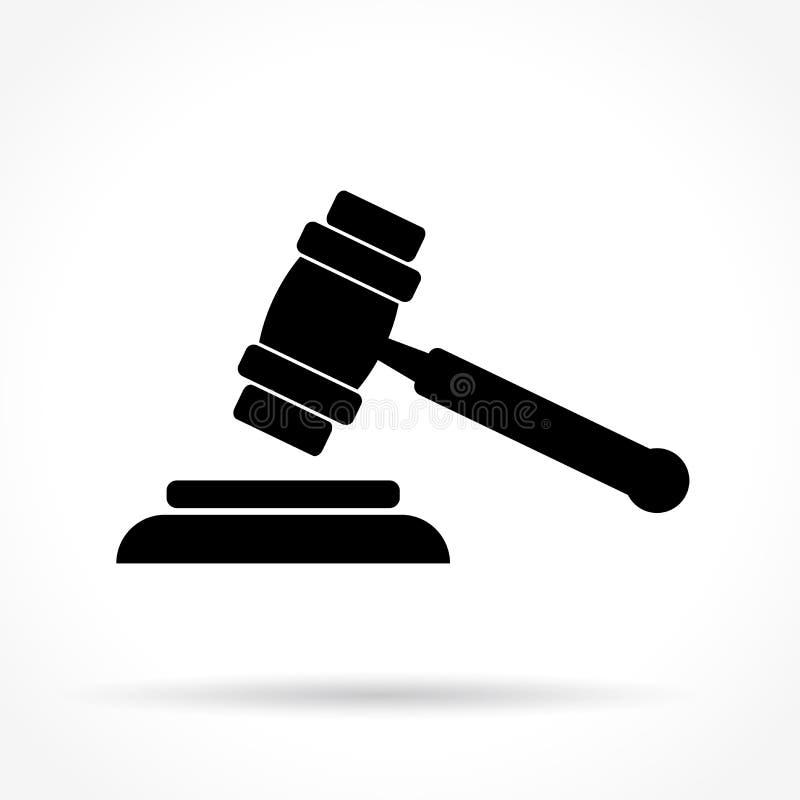 Icono del martillo de la justicia stock de ilustración