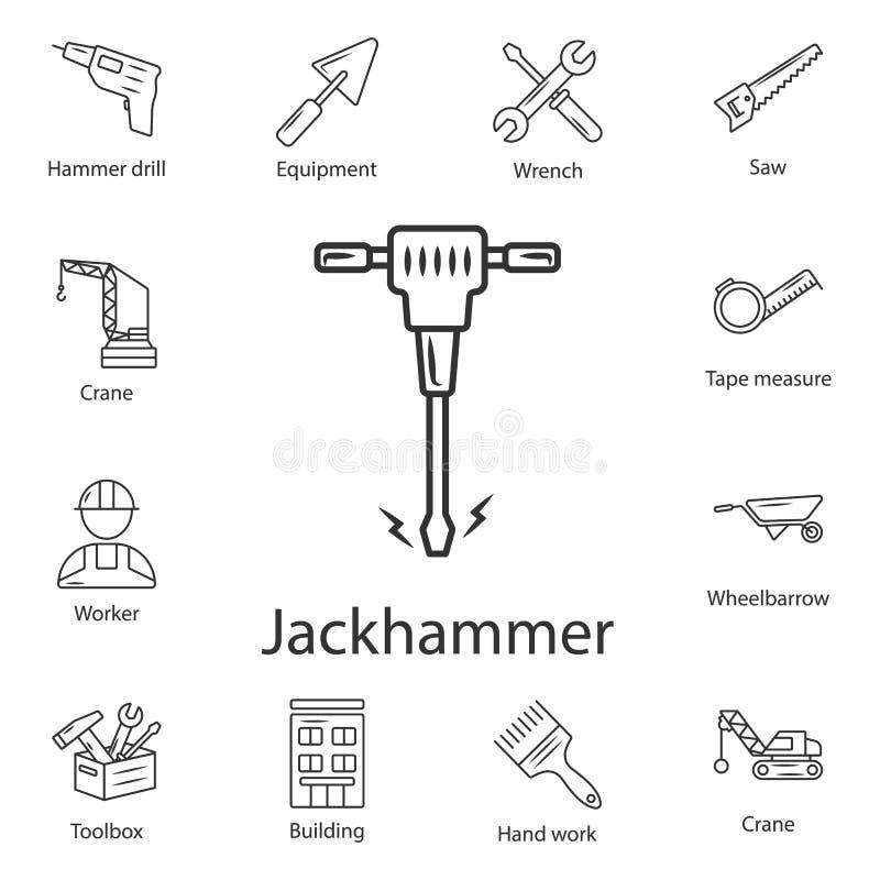 Icono del martillo perforador Ejemplo simple del elemento Diseño del símbolo del martillo perforador del sistema de la colección  stock de ilustración
