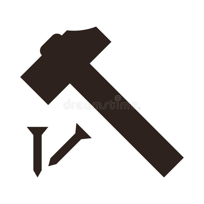 Icono del martillo y del clavo libre illustration