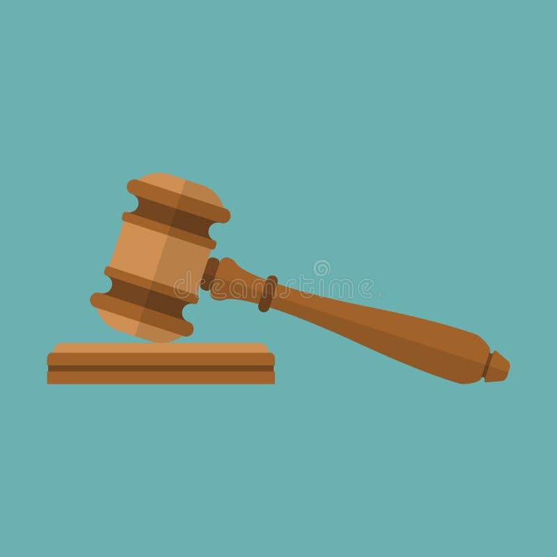Icono del mazo del juez ilustración del vector
