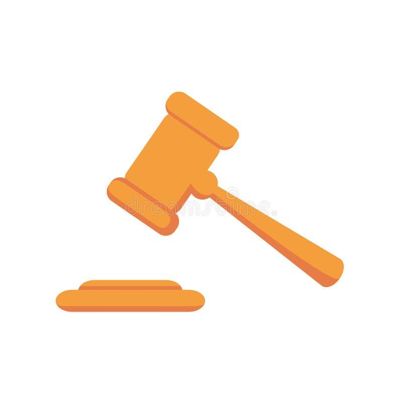 Icono del mazo del juez Ejemplo plano simple aislado en el fondo blanco libre illustration