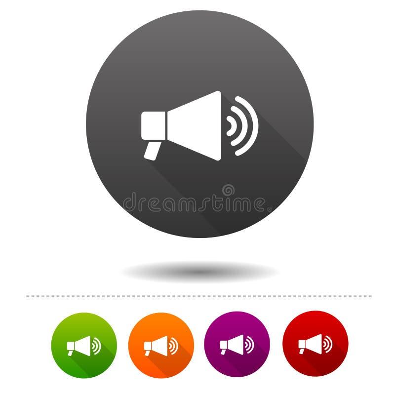Icono del megáfono Muestra del símbolo del promo de Lotdspeaker Botón del web ilustración del vector