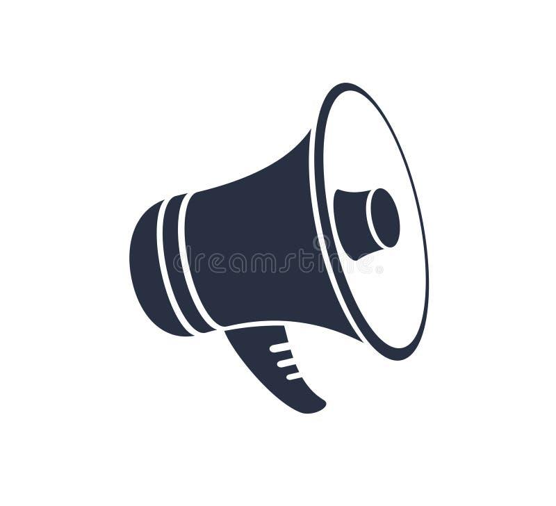 Icono del megáfono para el gráfico y el diseño web Icono sólido del vector relacionado de la promoción Aislado en el fondo blanco imagen de archivo libre de regalías