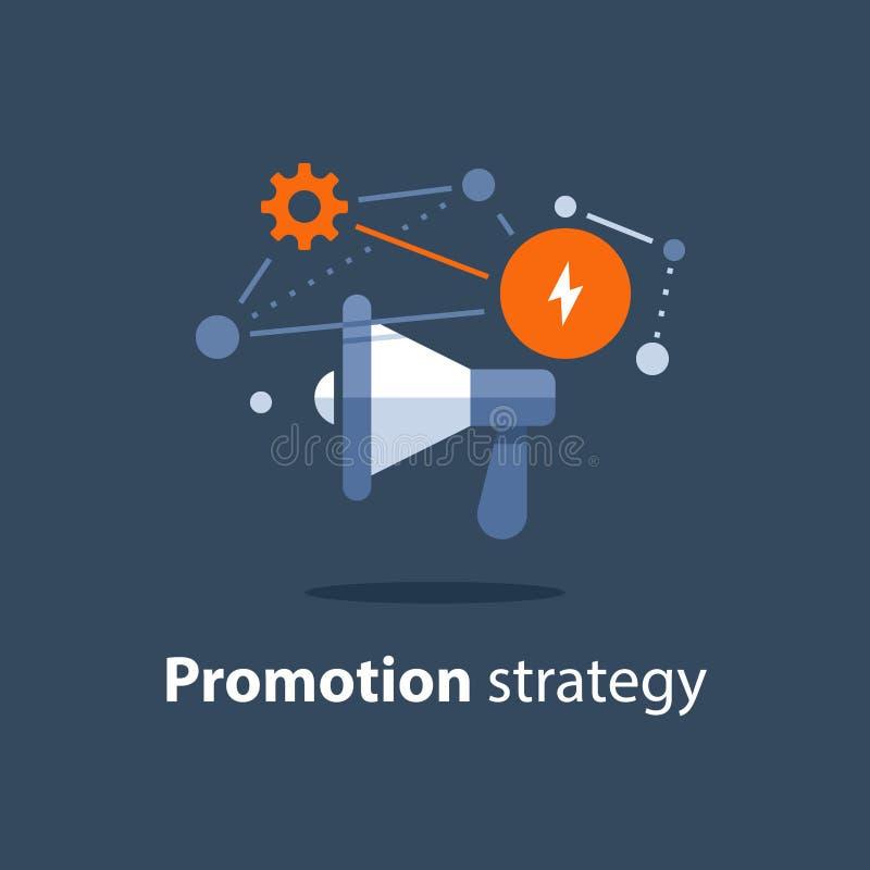 Icono del megáfono, plan de la estrategia de marketing, aviso de la atención, concepto de las relaciones públicas, campaña public stock de ilustración