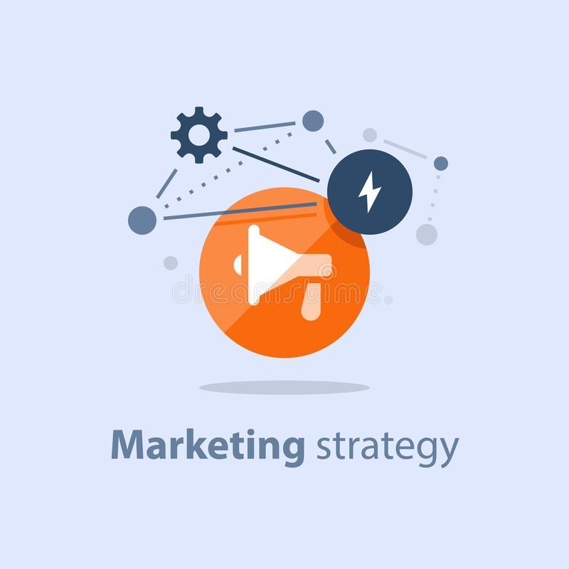 Icono del megáfono, plan de la estrategia de marketing, aviso de la atención, concepto de las relaciones públicas, campaña public libre illustration