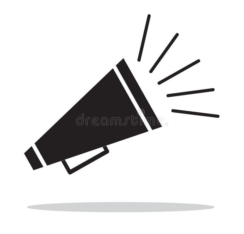 icono del meg?fono en el fondo blanco Anuncie la muestra icono para su dise?o del sitio web, logotipo, app, UI del meg?fono Estil libre illustration