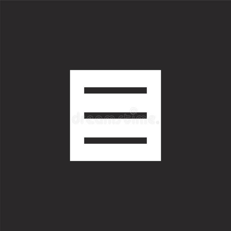 Icono del men? Icono llenado del menú para el diseño y el móvil, desarrollo de la página web del app icono del menú de la colecci ilustración del vector