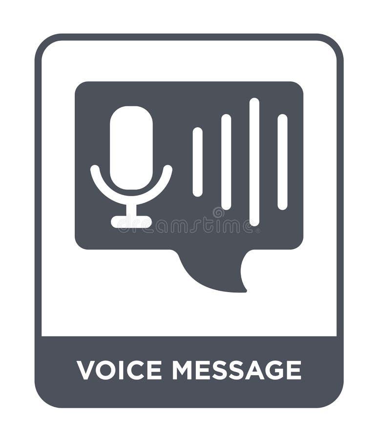 icono del mensaje de la voz en estilo de moda del diseño icono del mensaje de la voz aislado en el fondo blanco icono del vector  stock de ilustración