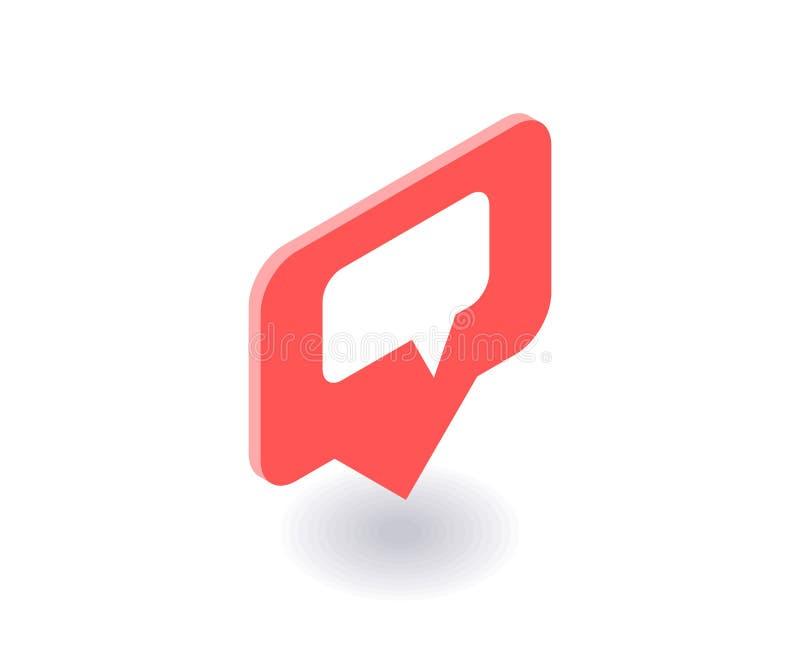 Icono del mensaje de texto, símbolo del vector en el estilo isométrico plano 3D aislado en el fondo blanco Medios ejemplo social stock de ilustración