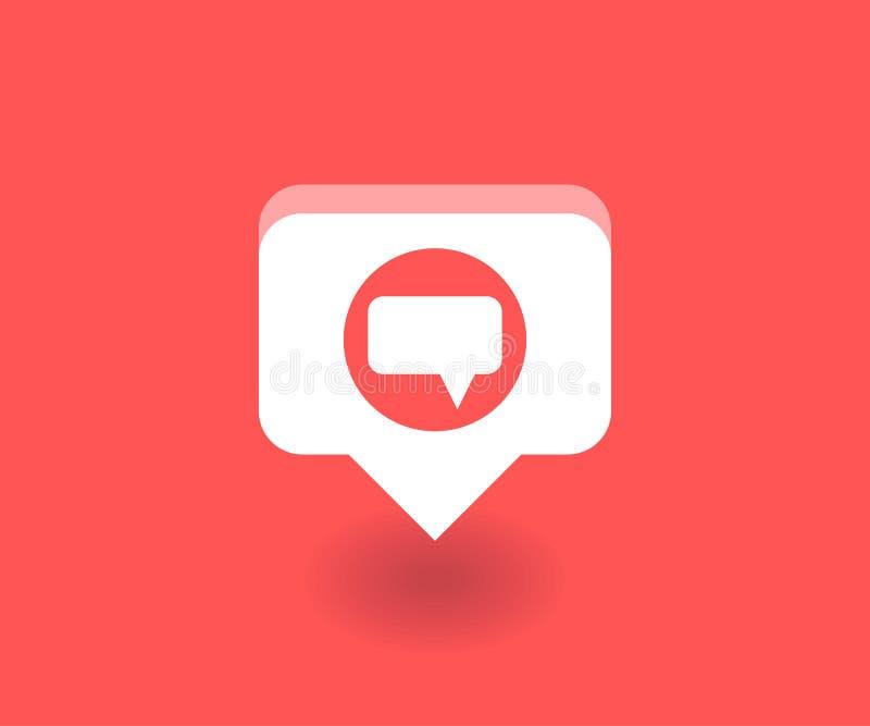 Icono del mensaje de texto, símbolo del vector en estilo plano aislado en fondo rojo Medios ejemplo social ilustración del vector