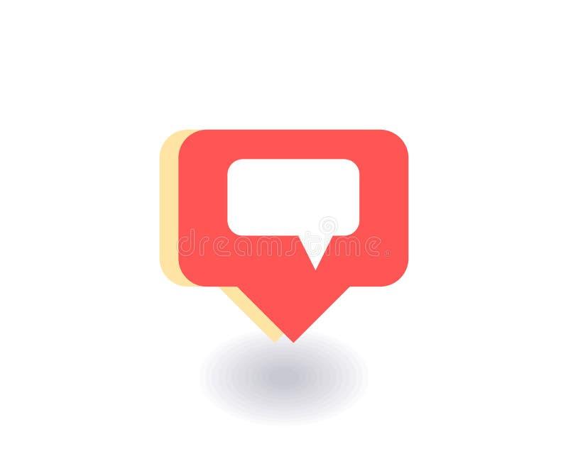 Icono del mensaje de texto, símbolo del vector en estilo plano aislado en fondo rojo Medios ejemplo social stock de ilustración
