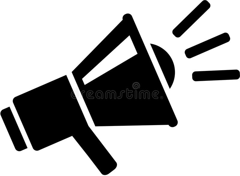 Icono del mensaje del megáfono ilustración del vector