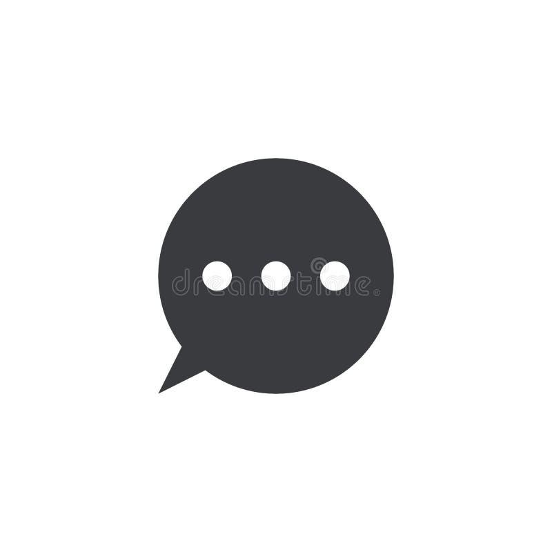 Icono del mensaje del vector Burbuja del discurso del círculo Elemento para el app móvil o la página web del diseño Nube negra de ilustración del vector