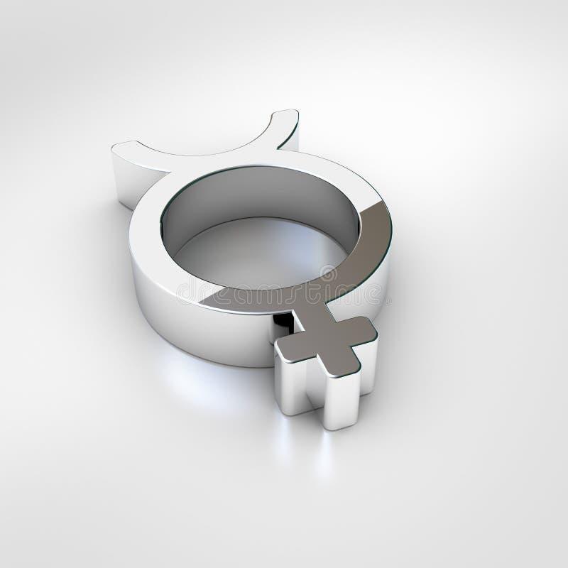 Icono del mercurio de Chrome aislado en el fondo blanco stock de ilustración