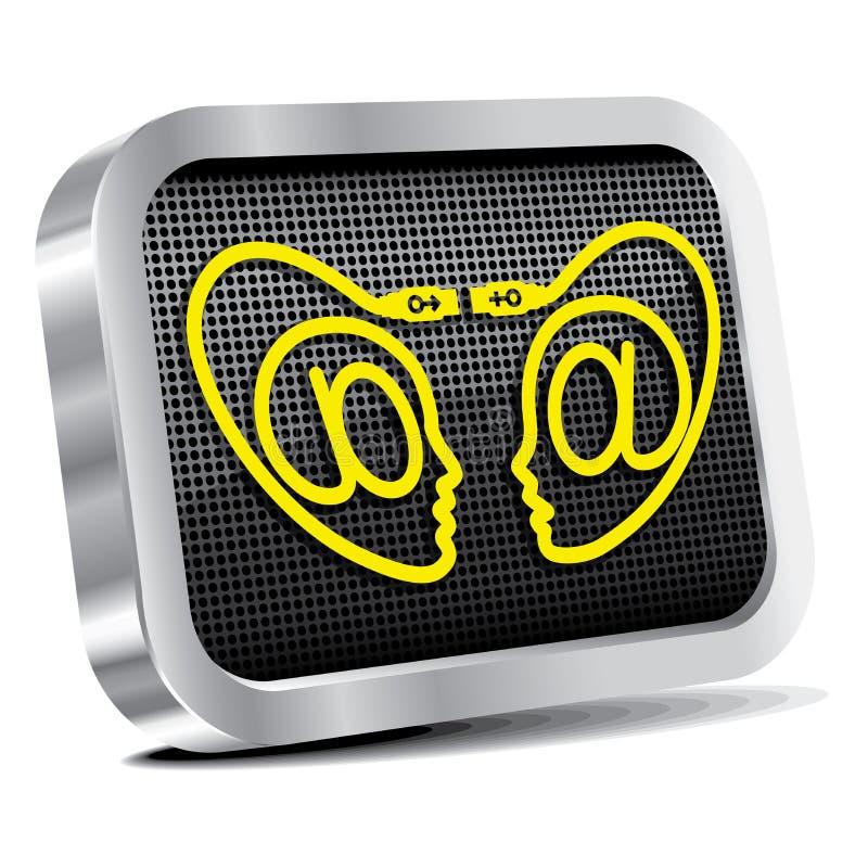 Icono del metal del sitio de la datación de Iinternet. stock de ilustración