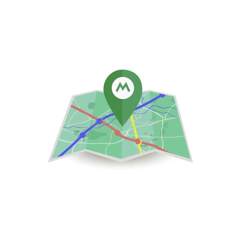 Icono del metro del vector Mapa aislado libre illustration