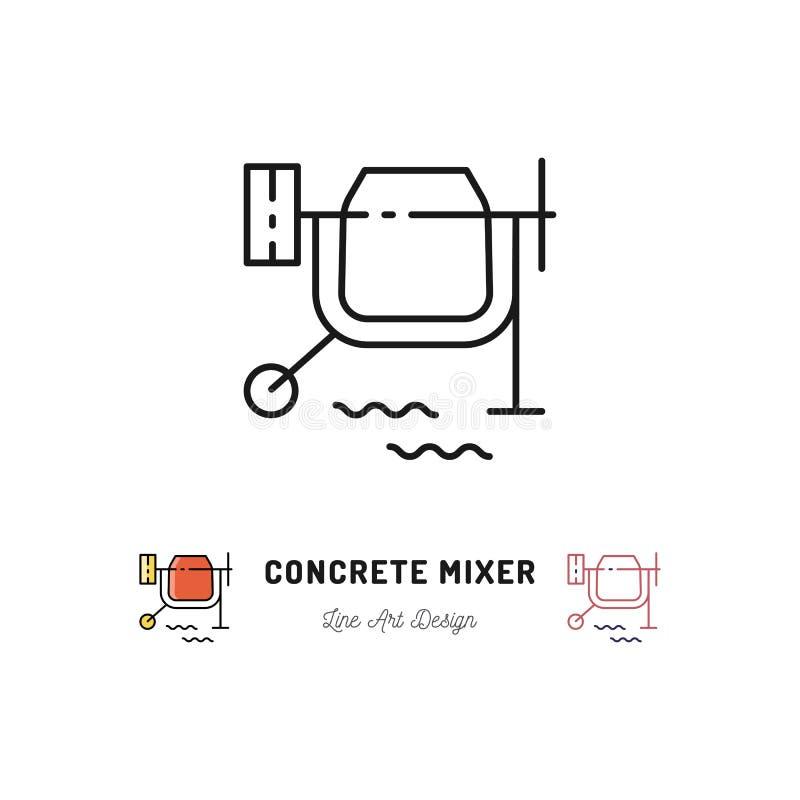 Icono del mezclador concreto, muestra del mezclador de cemento Línea fina símbolo del vector del arte libre illustration