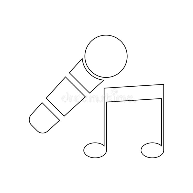 icono del micr?fono y de la nota musical Elemento del teatro para el concepto y el icono m?viles de los apps de la web Esquema, l libre illustration