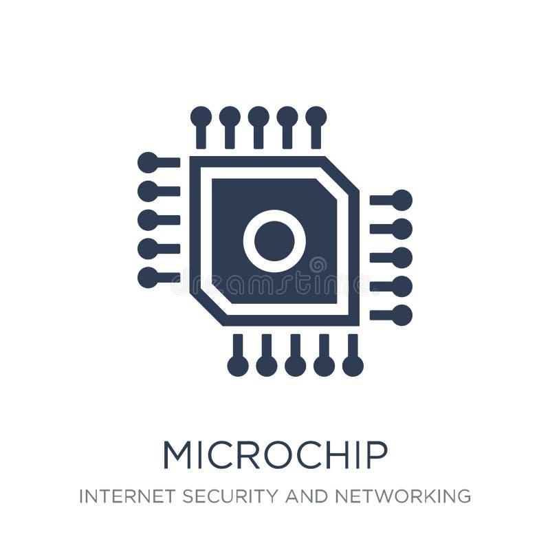 Icono del microchip Icono plano de moda del microchip del vector en el backg blanco stock de ilustración