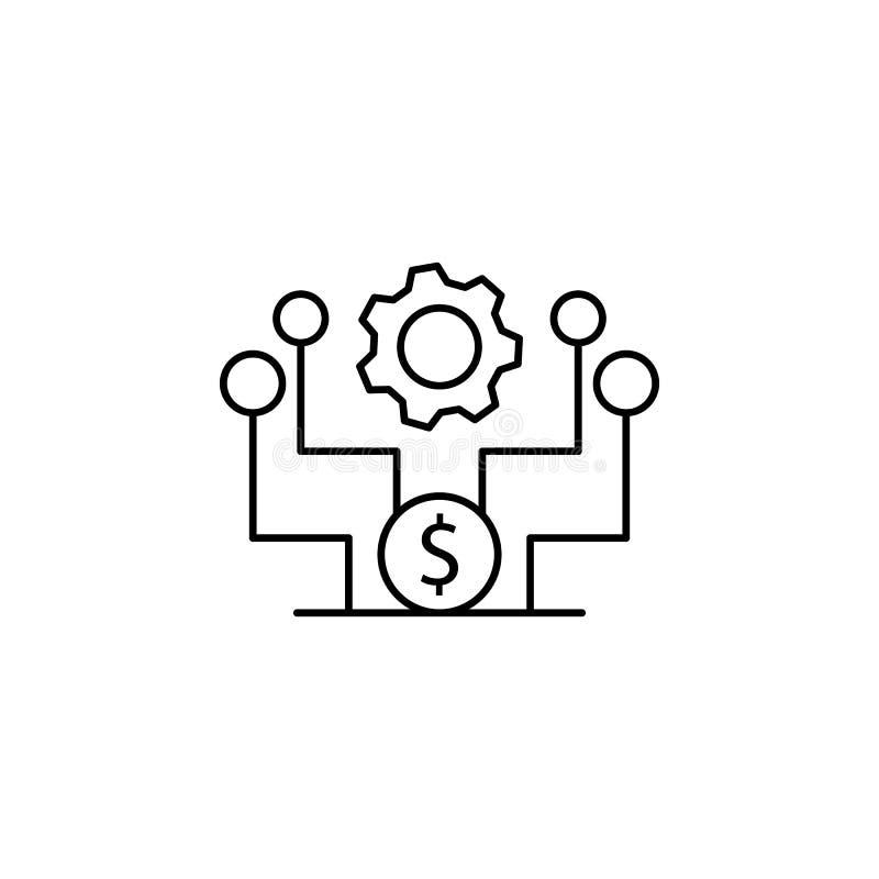 Icono del microprocesador del dólar del cliente del engranaje Elemento de la línea icono del comportamiento de consumidor ilustración del vector