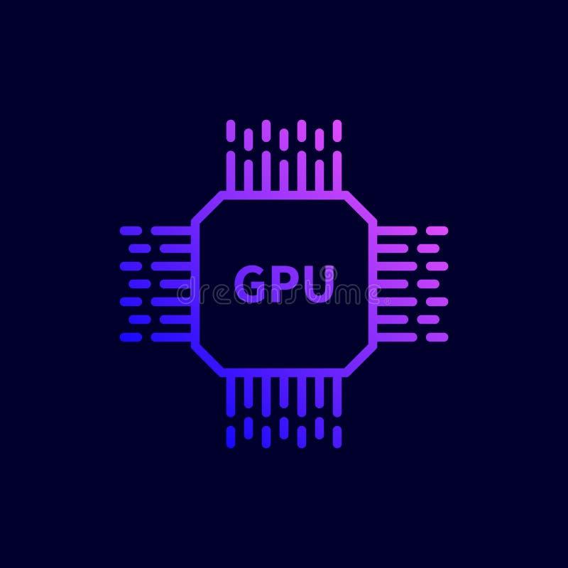 Icono del microprocesador de procesador de la CPU GPU Ejemplo del vector en la línea estilo plana stock de ilustración