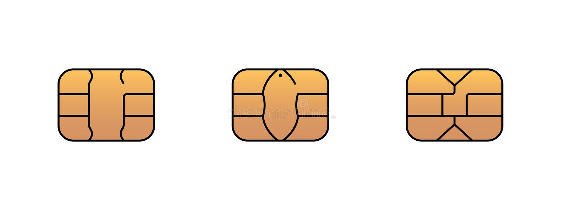 Icono del microprocesador del oro de EMV para la tarjeta bancaria del crédito o del debe del plástico del banco Ejemplo del s?mbo stock de ilustración