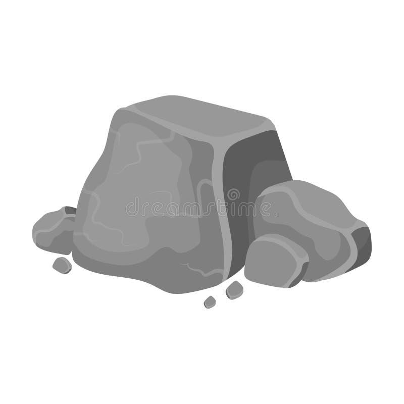 Icono del mineral de metal en estilo monocromático aislado en el fondo blanco Minerales preciosos y vector de la acción del símbo ilustración del vector