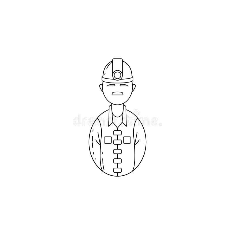 icono del minero del avatar Profesiones para los apps móviles del concepto y del web Línea fina icono para el diseño y el desarro ilustración del vector